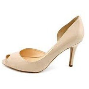 MARC FISHER Joey Pump Sz 9.5 Beige Patent Leather